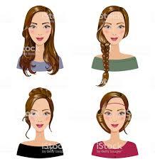 女性の髪のスタイルの種類様々 な髪型を持つ美しい若い女の子のセット