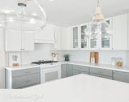 caesarstone pure white quartz countertops on angled kitchen peninsula