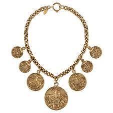 chanel vintage gold medallion coat of arms crest lion necklace c 1970