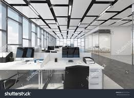 open office architecture images space. Open Space Office Interior With A Concrete Floor, Rectangular Ceiling Pattern And Panoramic Windows Architecture Images