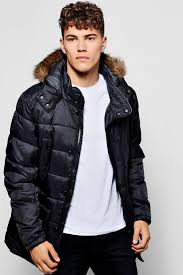 black casual padded parka jacket with faux fur hood 74973
