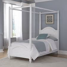 Wood Twin Canopy Bed in White