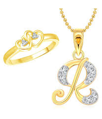 vighnaharta dual heart ring with initial r letter pendant gold plated jewellery
