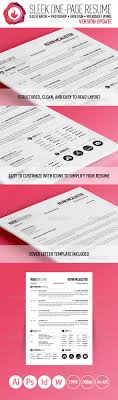 sleek one page resume by grimz graphicriver sleek one page resume resumes stationery