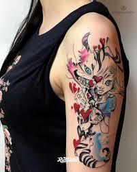 фото татуировки алиса в стране чудес в стиле авторский акварель вип