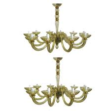 2 italian mid century modern amber murano venetian glass chandelier venini sty for
