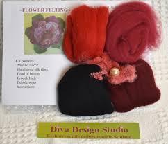 Diva Design Studio Flower Felting Kit By Diva Design Red Black 1 Kg 39fr