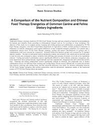 Pdf A Comparison Of The Nutrient Composition And Chinese