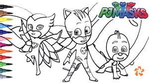 Pj Masks Gekko Catboy And Owlette Coloring Pages For Children