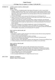 Educational Specialist Resume Samples Velvet Jobs