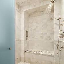 FRosted Glass Door Opens to Shower with Rain Shower Head