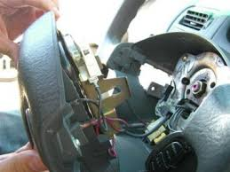 how to replace a honda civic airbag and steering wheel robert unclip all wires from the inside of the steering wheel the big yellow clip requires that you pull down on the spring loaded yellow sleeve to remove