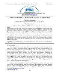 Casual Employment A Nostrum To Unemployment In Nigeria Pdf