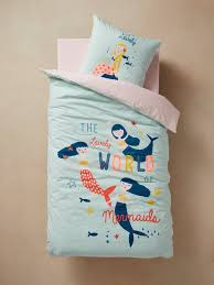 children s duvet cover pillowcase set pretty mermaids blue light solid with design