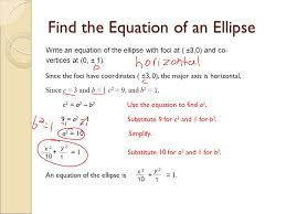 find the equation of an ellipse write an equation of the ellipse with foci at