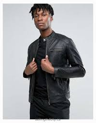 jackets coats selected homme leather biker jacket men black