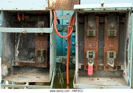 building clydebank glasgow scotland stock photos building disused electrical fuse box on the site of the former john brown engineering clydebank glasgow scotland