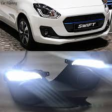 Swift Car Led Lights Us 62 83 13 Off Car Flashing 2pcs Car Led Drl Daytime Running Lights For Suzuki Swift 2017 2018 2019 With Yellow Turning Signal Fog Lamp Cover In