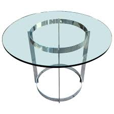 milo baughman chrome and glass round dining table by thayer coggin for