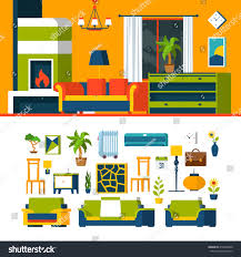 creative furniture icons set flat design. living room interior object constructor template vector icon set flat style furniture accessory illustration creative icons design p