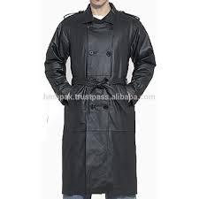 hmb 0413a men leather jacket long coat black trench coats