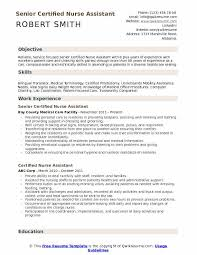 Nursing Assistant Resume Objective Certified Nurse Assistant Resume Samples Qwikresume