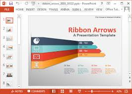 Animated Ribbon Arrows Infographic Powerpoint Template