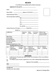 20 Printable Bio Data Form For Interview Templates
