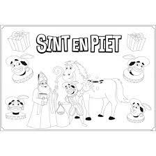 Voor Kinderen Sinterklaas Kleurplaat Feest Placemats 6 Stuks