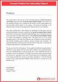 Sample Preface For Internship Report Letter Pinterest Report Amazing Resume Preface
