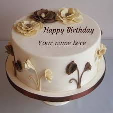 Flower Decorated Happy Birthday Cake Pics Name Edit Hbd Cake In