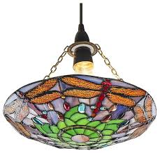 traditional multi coloured dragonfly tiffany glass pendant shade traditional pendant lighting by happy homewares limited