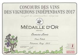 medaille or 2017 concours des vignerons independants