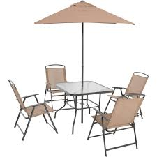 Outdoor Dining Set 6 Piece Folding Tan Patio Furniture Table Chairs