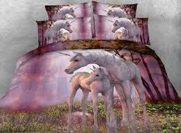 unicorn series kids single bed purple 3d unicorn print bedding set super king size quilt covers queen bedspread queen bedding ensembles bedding sets