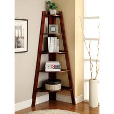 Brilliant Brown Wooden Corner Ladder Shelf For Bookshelves As Well As Art  Wall Decors And White Rugs On Wooden Floors Designs