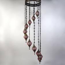 Oosterse Hanglamp Mozaïek 11 Bollen Rood Design H218cm