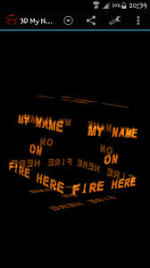 3d my name on fire wallpaper my name cube apps 0