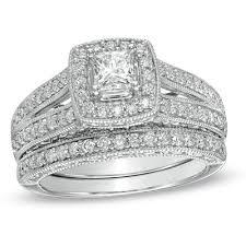 1 1 4 ct t w princess cut diamond frame bridal set in 14k white Wedding Band Sets Zales i've tagged a product on zales ct princess cut diamond frame bridal set in white gold wedding band sets zales