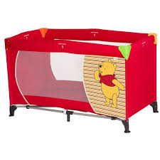 hauck disney dream n play travel cot pooh spring brights red