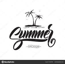 ベクトル イラスト 落書きのヤシの木が夏休みの手書き筆文字 ストック