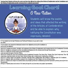 A New Nation Articles Of Confederation Constitution Learning Goal Chart