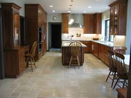 Large Kitchen Floor Tiles Luxury Large Kitchen With Dark Brown Cabinets And Recessed
