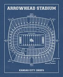 Vintage Style Print Of Arrowhead Stadium Seating Chart On