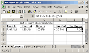 how to make a time schedule in excel ms excel 2003 perform time calculations example 2