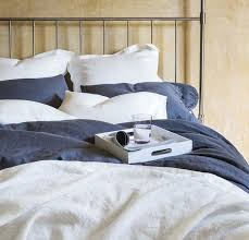 ... Charcoal or Gray Rough Linen Bed Set | Bed-in-a-bag ...