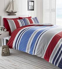 laa duvet quilt cover double nautical stripes bedding set red navy blue white