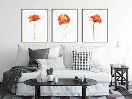 poppy print set poppy watercolor