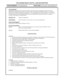 Housekeeping Job Description For Resume Resume For Your Job