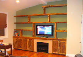 decoration ideas diy solid wood tv wall unit with minimalist cabinets and book shelf in